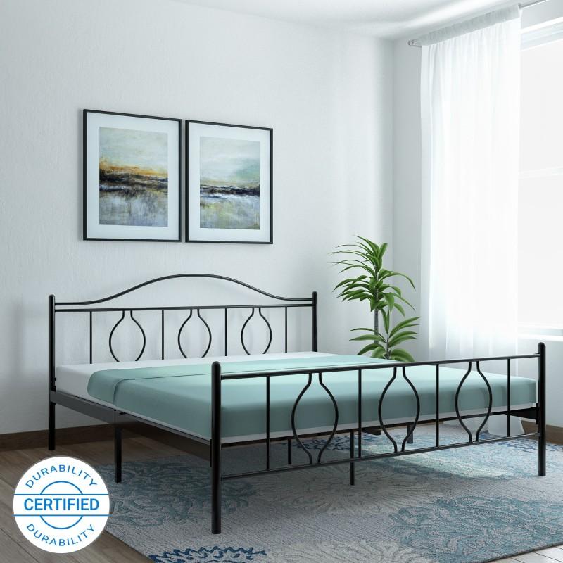 FurnitureKraft Baia Mare Metal King Bed(Finish Color - Black)