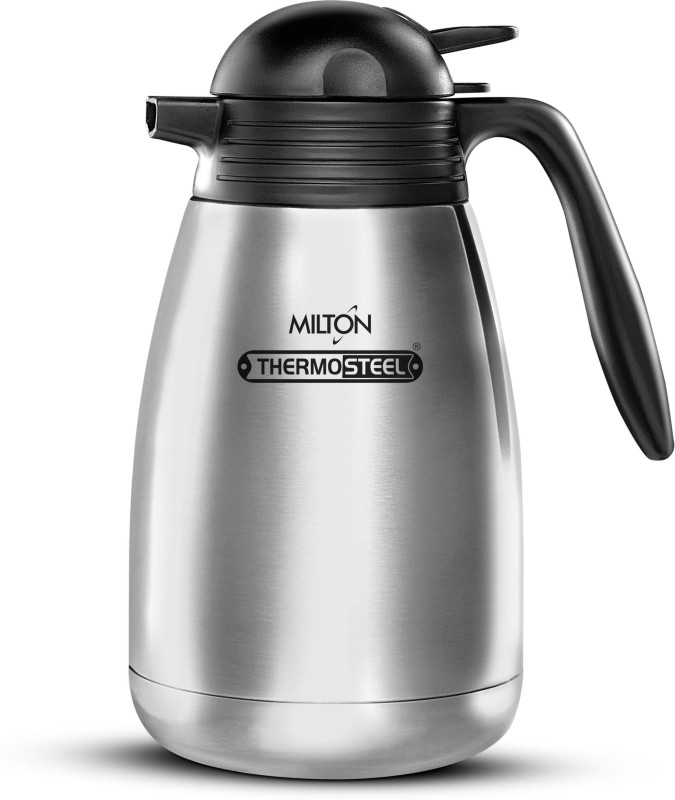 Milton Vaccum Flasks Thermosteel Hot & Cold Carafe 1000 ml Steel Plain 1000 ml Flask(Pack of 1, Silver)