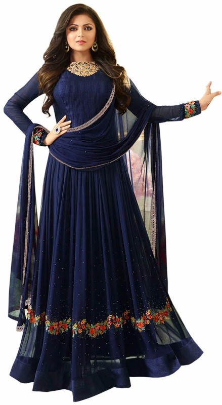 Sukhvilas Fashion Georgette Embroidered Semi-stitched Salwar Suit Dupatta Material