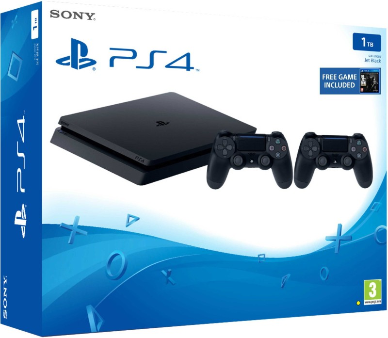 Sony PlayStation 4 1 TB with The Last of Us(Jet Black, Extra Dual Shock 4 Controller)