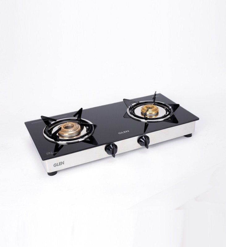 GLEN 2 Burner ISI LPG Gas Stove 1020 GT Junior Brass Burners Glass Manual Gas Stove(2 Burners)
