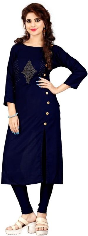 Sukhvilas Fashion Casual Solid Women Kurti(Dark Blue)