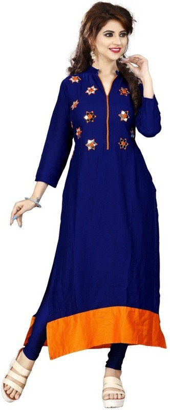 Sukhvilas Fashion Casual Embroidered Women Kurti(Multicolor)