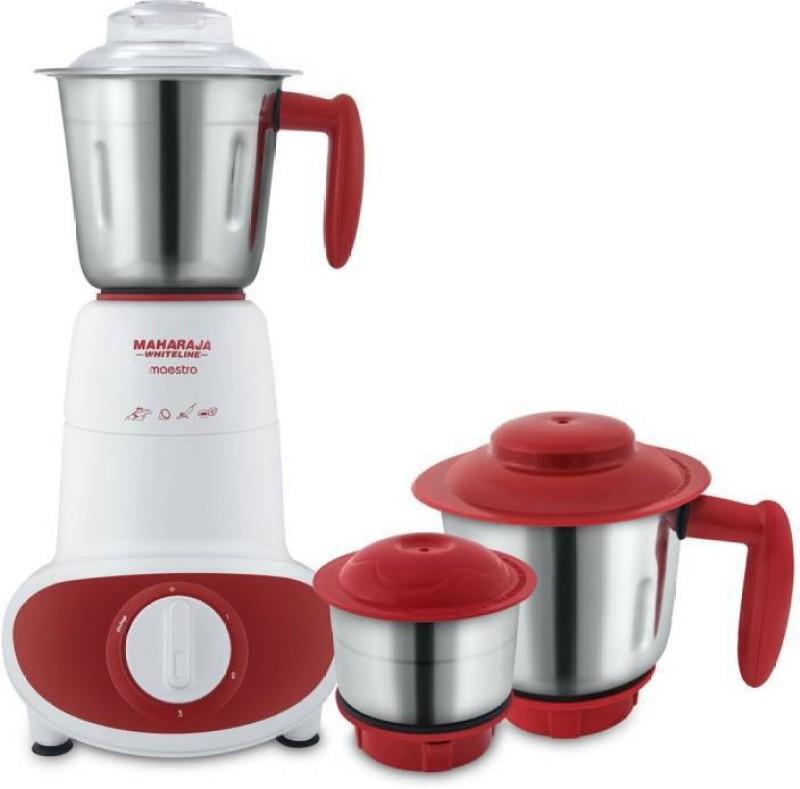 Maharaja Whiteline Maestro 600 Mixer Grinder(White,Red, 3 Jars)
