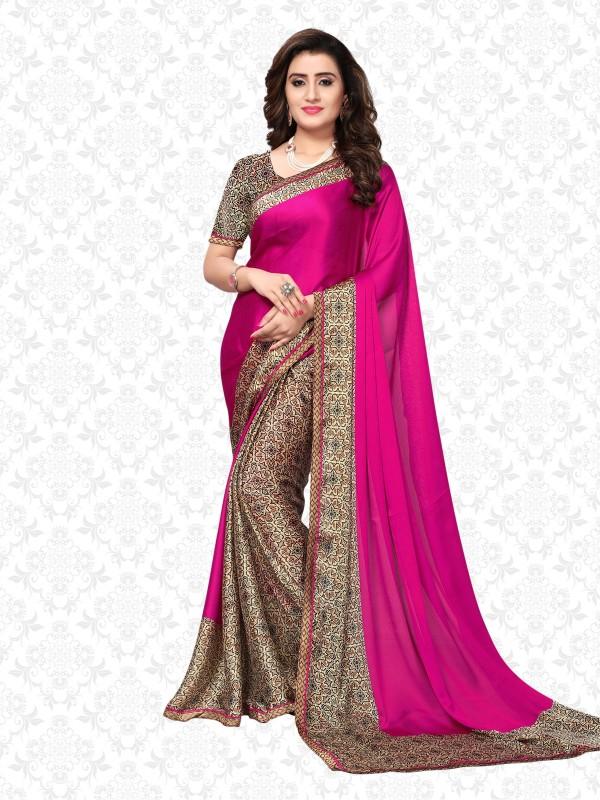 Divastri Printed Fashion Satin Saree(Pink, Beige, Brown)