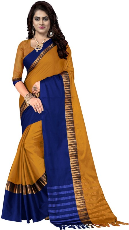 Lake prints Self Design Bollywood Cotton Saree(Gold, Blue)