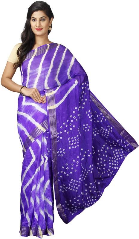 Pavechas Printed Leheria Poly Viscose Chiffon Saree(Purple)