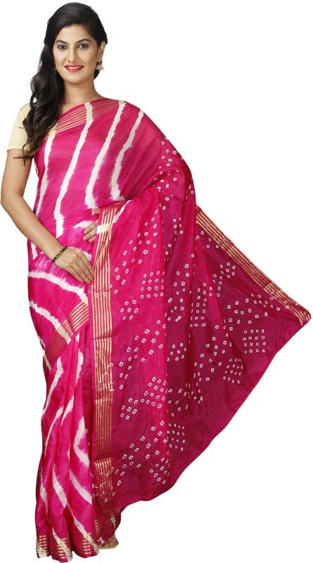 Pavechas Printed Leheria Poly Viscose Chiffon Saree(Pink)