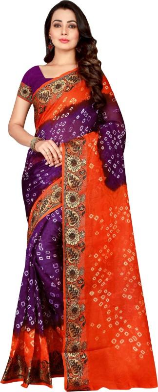 The Fashion Outlets Woven Kanjivaram Cotton, Art Silk Saree(Orange, Purple)