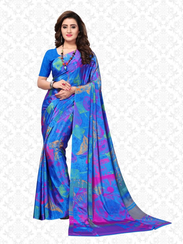 Divastri Printed Fashion Crepe Saree(Blue)