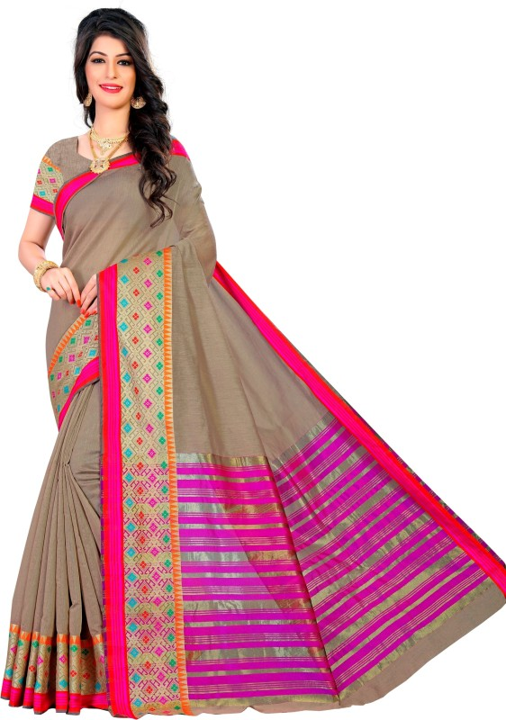 The Fashion Outlets Woven Kanjivaram Cotton, Art Silk Saree(Beige)