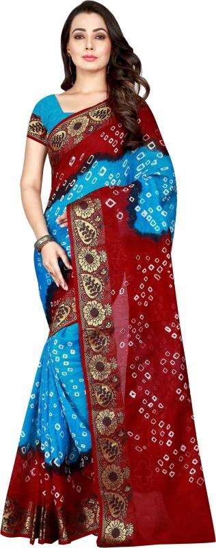 The Fashion Outlets Woven Kanjivaram Cotton, Art Silk Saree(Maroon, Light Blue)