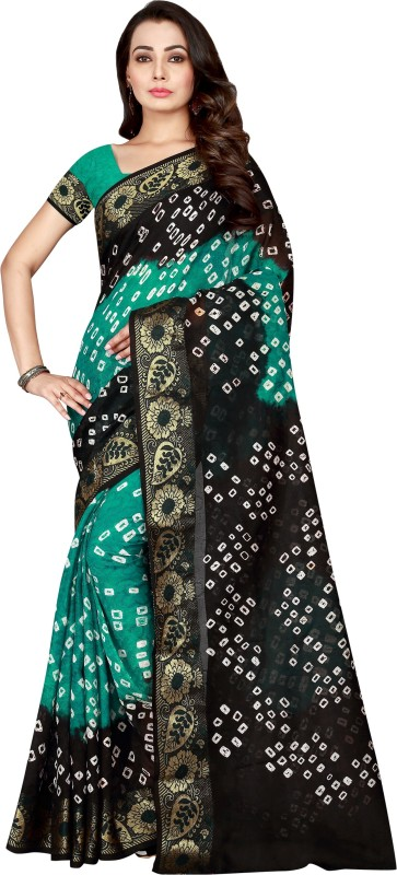 The Fashion Outlets Woven Kanjivaram Cotton, Art Silk Saree(Black, Dark Green)