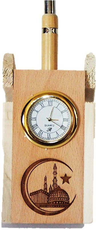 Glass Home Wooden pen stand with QUARTZ CLOCK and MECCA MADINA. Wood...