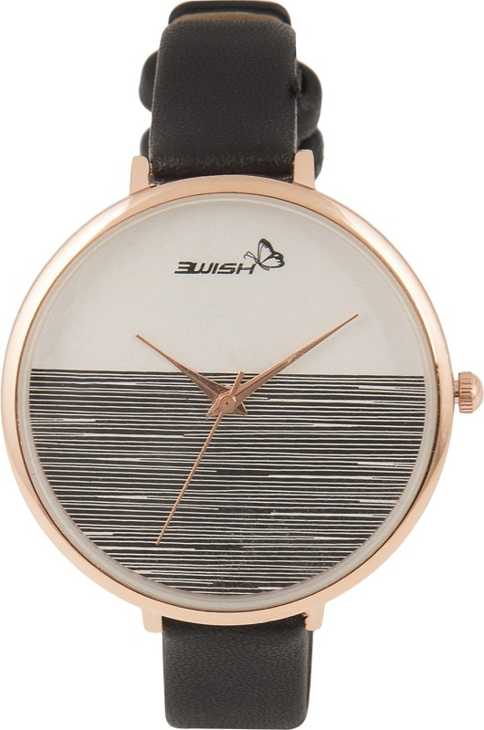 3Wish 3WW-1234 Analog White & Black Dial and Black Strap Watch - For Women