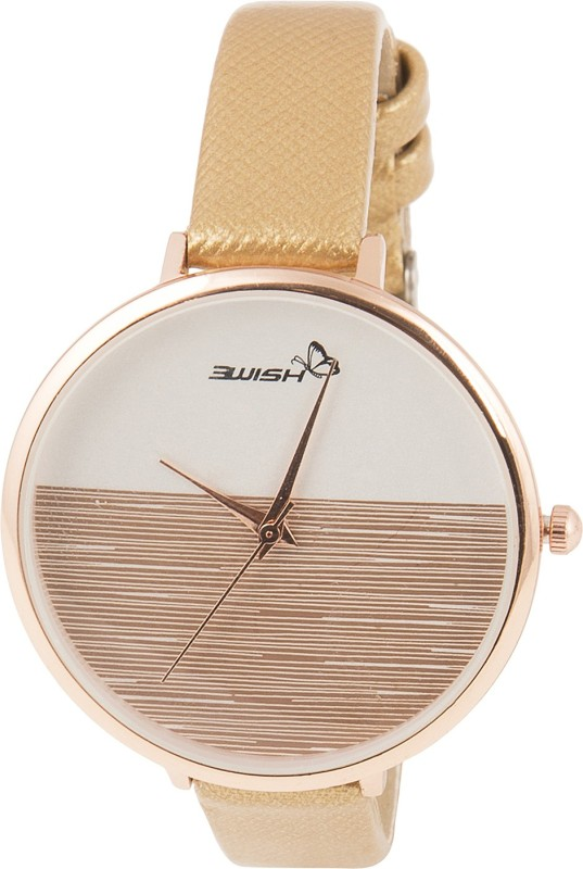 3Wish 3WW-1234 Analog White & Golden Dial and Golden Strap Watch - For Women