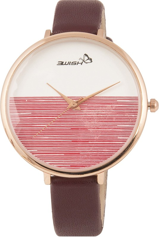 3Wish 3WW-1234 Analog White & Maroon Dial and Maroon Strap Watch - For Women