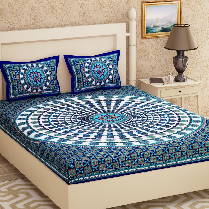 Metro Living 104 TC Cotton Double Floral Bedsheet(Pack of 1, Blue)