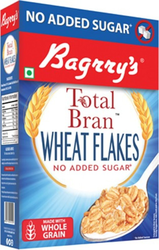 Bagrry's Total Bran Wheat Flakes- No Added Sugar 500Gm(500 g, Box)