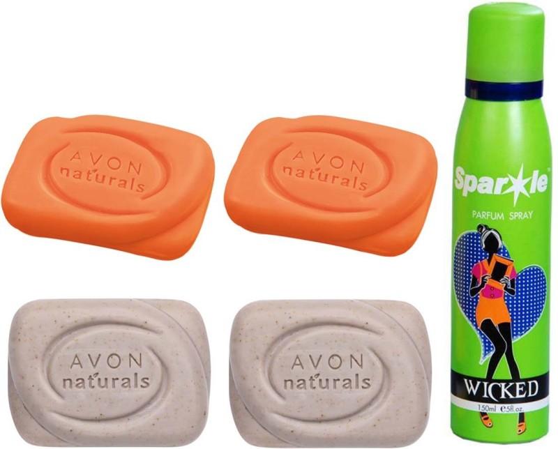 Avon Anew two Naturals Exfoliating Bar Soap (100 g) & one two Natural Papaya Bar Soap (100g) With one sparkle perfume spray 150 ml(Set of 5)