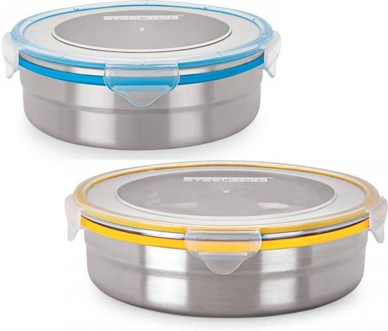 Steel Lock Stainless Steel Airtight Container, 2Pc - 1300 ml, 1700 ml Steel Grocery Container(Pack of 2, Multicolor)