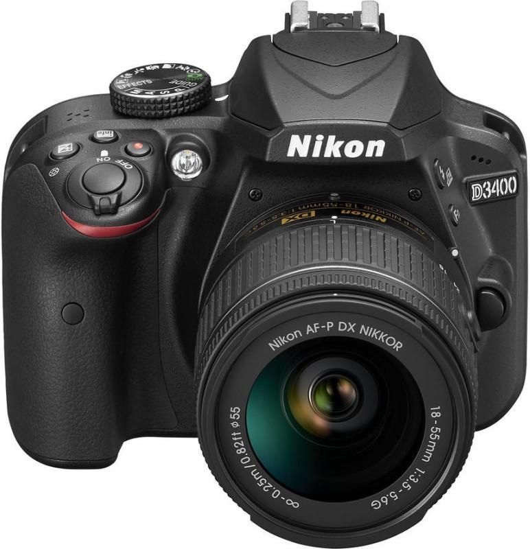 Nikon DSLR D3400 DSLR Camera Body with Single Lens: AF-P DX NIKKOR 18-55 mm f/3.5-5.6G VR Kit DSLR Camera (16 GB SD Card + DSLR Camera Bag) (Black(Black)