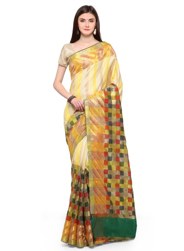 The Fashion Outlets Woven Banarasi Banarasi Silk Saree(Yellow)