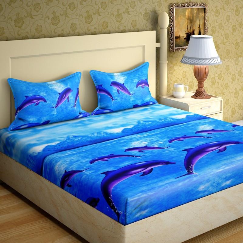 IWS 144 TC Microfiber Double 3D Printed Bedsheet(1 Bedsheet, 2 Pillow Covers,...