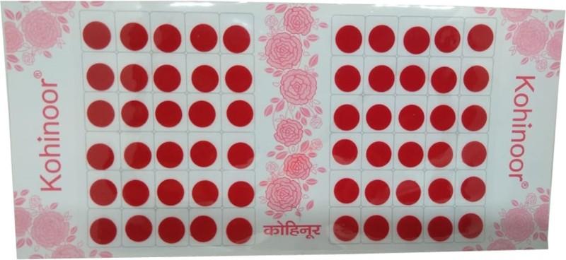 Kohinoor Matching Colors Red Size-2.5 Round Bindis for Women All Skin Type Red Bindis(Bindi)