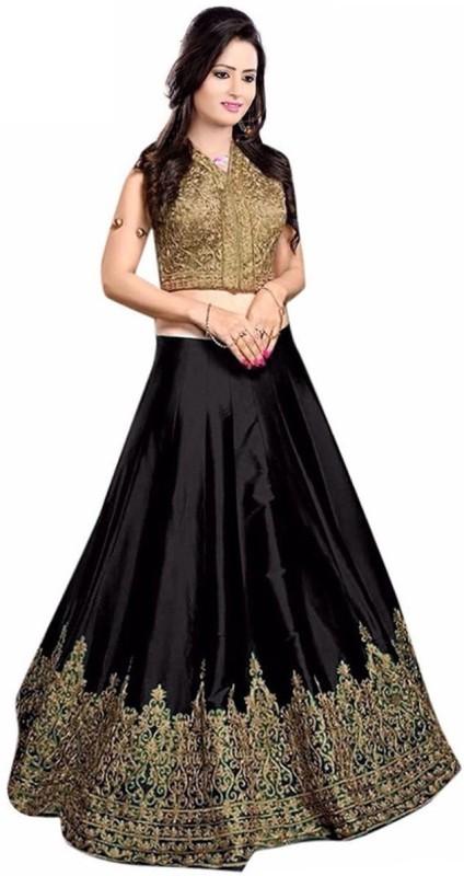 Nirvan Fashion Embroidered Semi Stitched Lehenga Choli(Black)