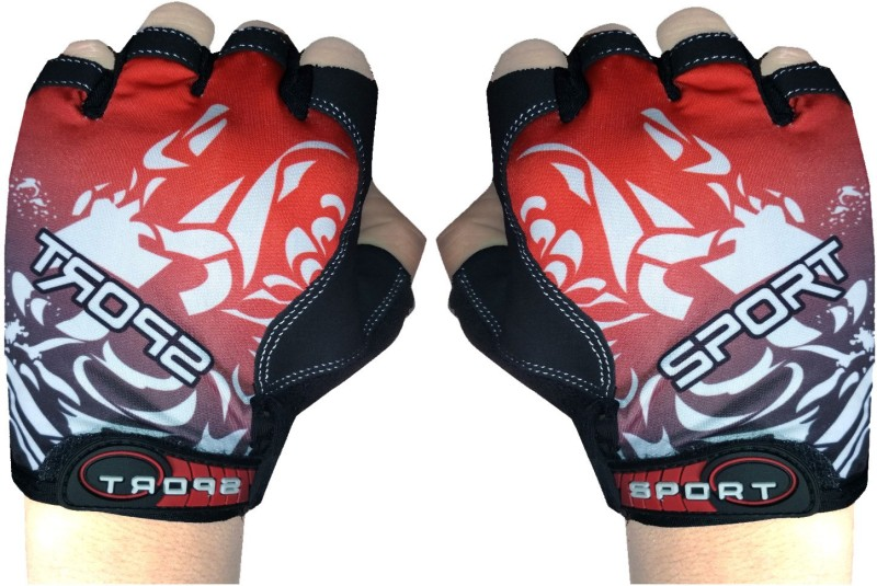 GymWar Cycling Gloves Anti Skid Light Weight Riding Gloves Gym & Fitness Gloves (Free Size, Red)