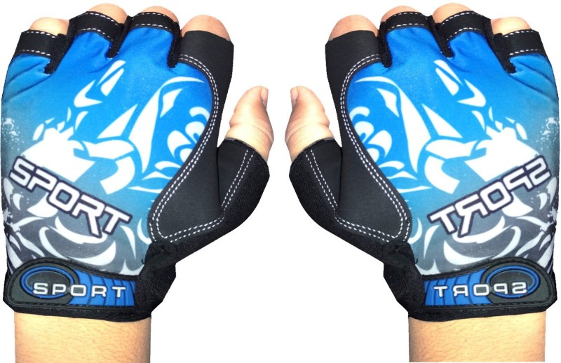 GymWar Cycling Gloves Anti Skid Light Weight Riding Gloves Gym & Fitness Gloves (Free Size, Blue)