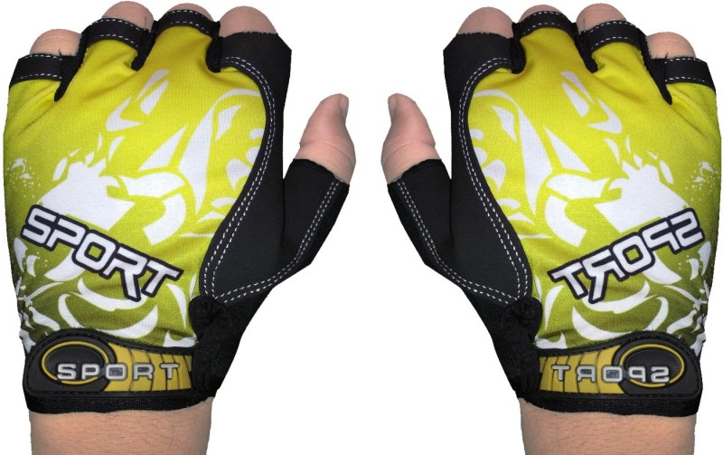 GymWar Cycling Gloves Anti Skid Light Weight Riding Gloves Gym & Fitness Gloves (Free Size, Yellow)