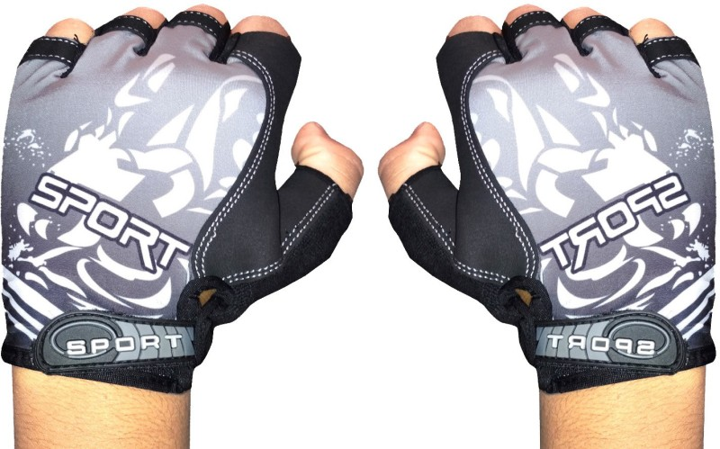 GymWar Cycling Gloves Anti Skid Light Weight Riding Gloves Gym & Fitness Gloves (Free Size, Grey)
