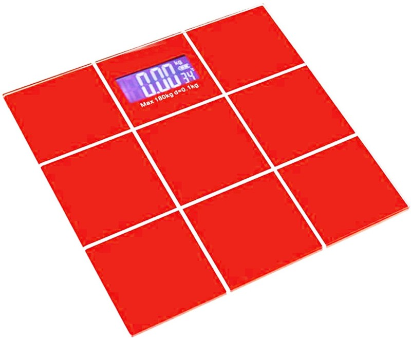 Xhaiden Digital Red CheckBox 5kg to 180kg Glass Weighing Scale(Red)