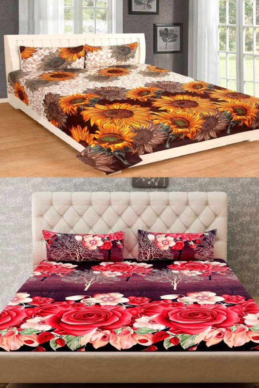 Home Pictures 144 TC Microfiber Double 3D Printed Bedsheet(2 Double Bedsheet, 4...