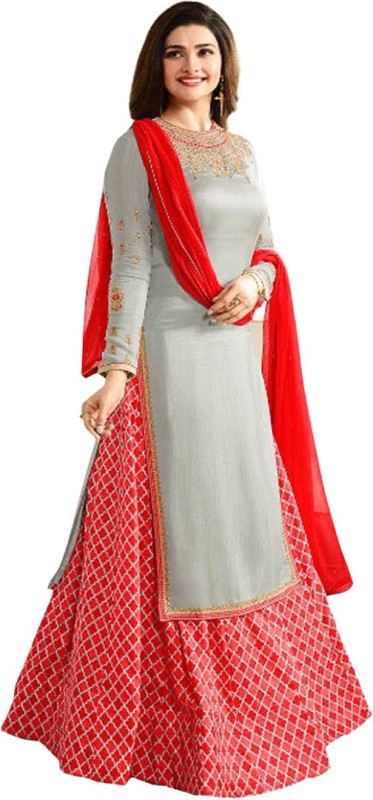 Fashionuma Embroidered Semi Stitched Lehenga, Choli and Dupatta Set(Grey, Red)