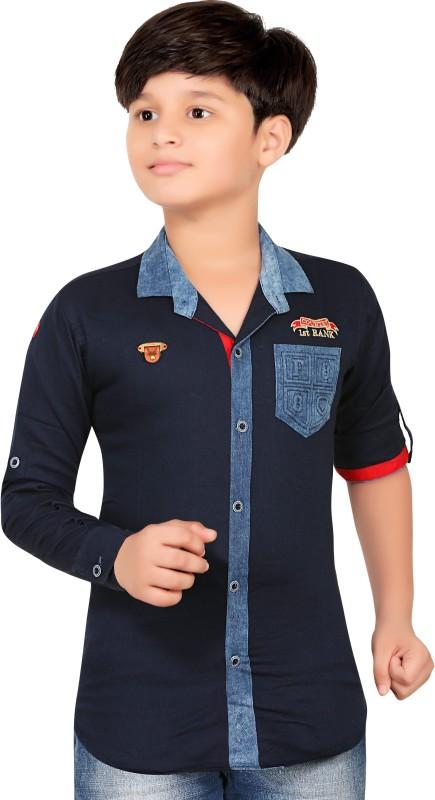 1st Rank Plus Boys Self Design Party Blue Shirt