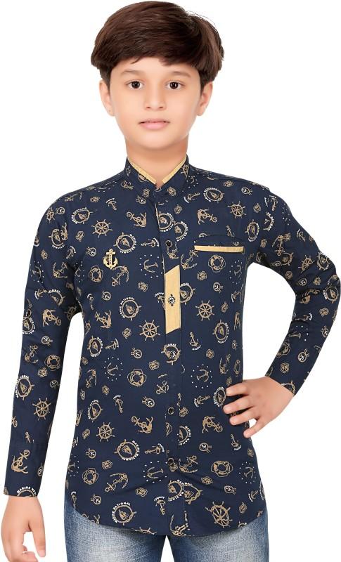 1st Rank Plus Boys Self Design Party Curved Collar Shirt