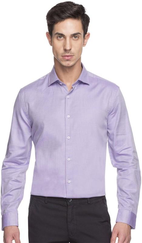 Cottonworld Men Solid Formal Purple Shirt