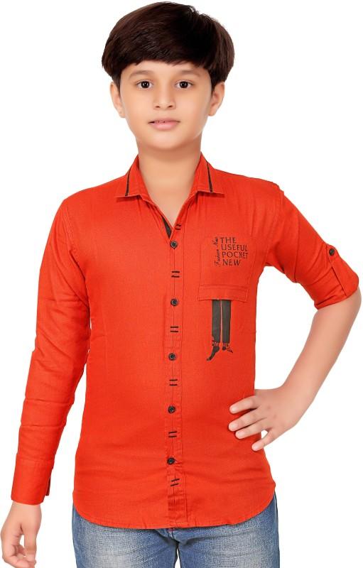 1st Rank Plus Boys Self Design Party Orange Shirt