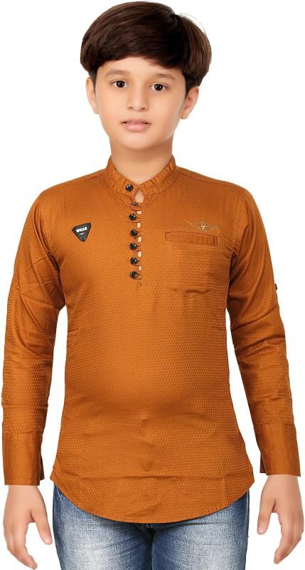 1st Rank Plus Boys Self Design Party Collarless Shirt