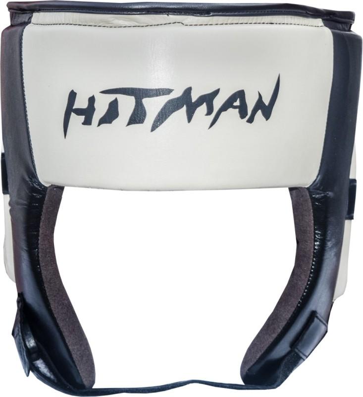 Hitman Pretige Open Face Micro Leather Black/Cream Boxing Head Guard(Black)