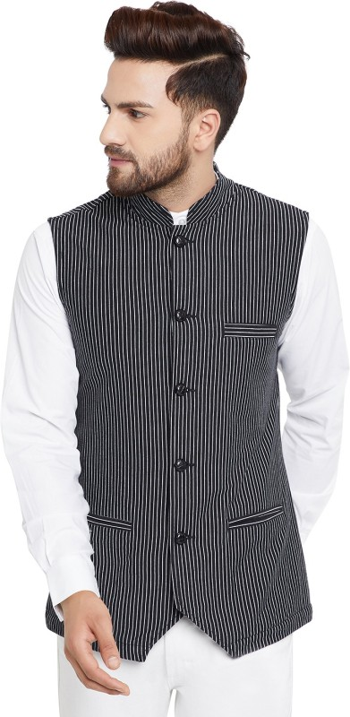 Hypernation Sleeveless Striped Men Jacket