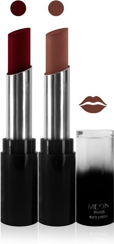 Medin paris matte long lasting moisturizing lipstick cosmetics makeup collection set of 2 color(maroon l brown, 10 g)