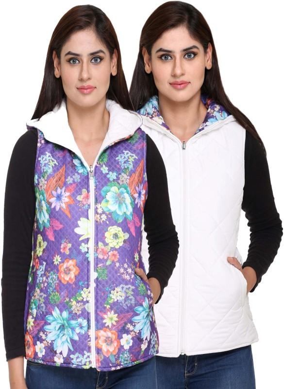 Trufit Sleeveless Floral Print Women Reversible Jacket
