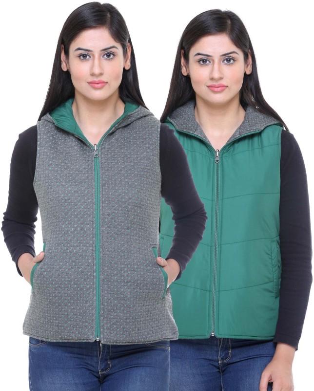 Trufit Sleeveless Printed, Solid Women Reversible Jacket