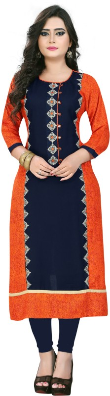 Vbuyz Women Embroidered Straight Kurta(Multicolor)