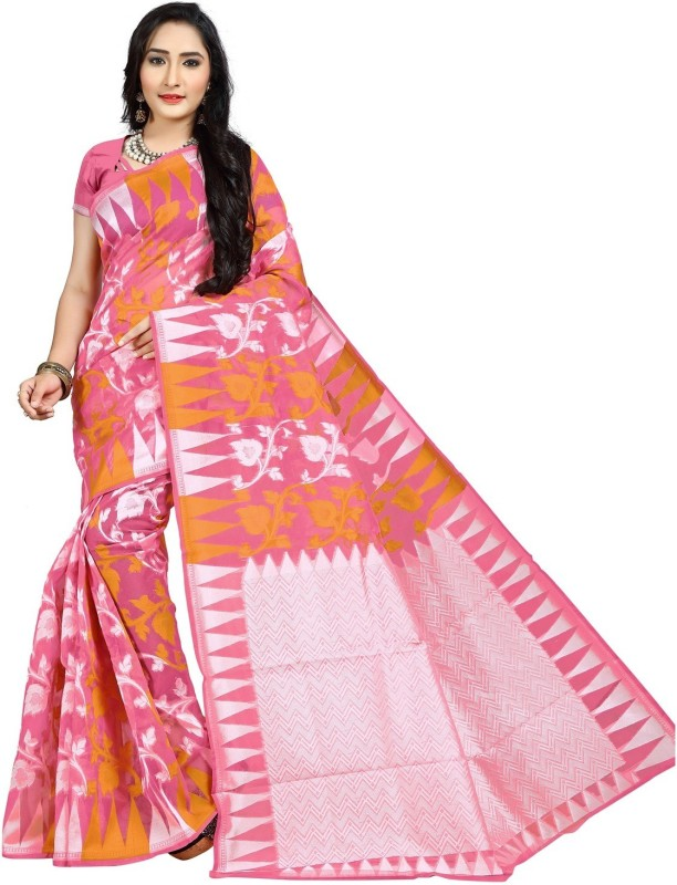 JagannathSaree Woven Jamdani Silk Saree(Pink, White)