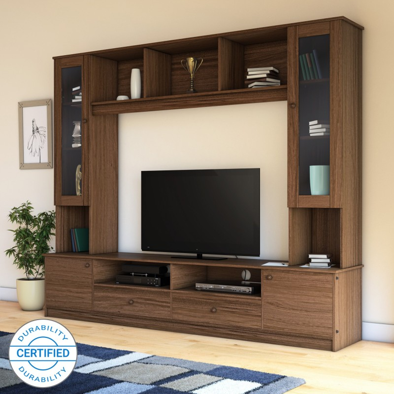 Flipkart Perfect Homes Webster Engineered Wood TV Entertainment Unit(Finish Color - Walnut)